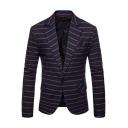 New Trendy Striped Print Single Button Notch Lapel Collar Long Sleeve Blazer Suit for Men