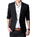 Trendy Single Button Long Sleeves Peak Lapel Plain Casual Men's Blazer Suit Jacket