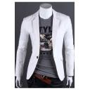 Mens Simple Plain Notched Lapel Long Sleeve Slim Fitted Single Button Suit Jackets