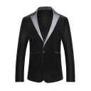 Fashion Multiple Pockets Long Sleeve Peaked Lapel Single Button Mens Suede Tuxedo Suit