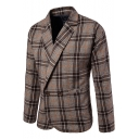 Fashion Coffee Plaid Pattern Long Sleeve Double Button Mens Wool Suit Coat