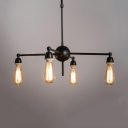 Dining Room Starburst Chandelier Industrial Black 4 Lights Pendant Lamp with Rod