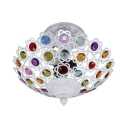 White Bowl Ceiling Light 1 Light Vintage Colorful Crystal Semi Flush Mount Light for Living Room
