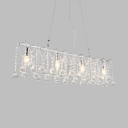 Living Room Linear Chandelier Light Metal Modern Chrome Hanging Lamp with Clear Crystal Ball