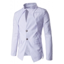 Hot Fashion Plain Asymmetric Design Stand Collar Double Button Long Sleeve Flap-Pockets Blazer Suit