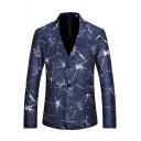 Stylish Crack Print Long Sleeve Double Button Notch Lapel Navy Blazer Jacket for Men