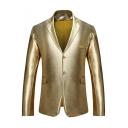 Trendy Metallic Color Notched Lapel Double Button Long Sleeve Flap-Pockets Mens Suit Blazer