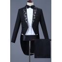 Trendy Floral Applique Peak Lapel Long Sleeve Black Prom Tuxedo Suit Tailcoat Set for Men