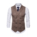 Mens Retro Plaid Printed Buckle Back Shawl Collar Double Breasted Suit Vest