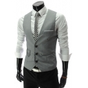 Men's Solid Chain Embellished Single Breasted Slim Fit Suit Vest