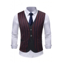 Mens Trendy Stripes Printed Single Breasted Fake Two-Piece Suit Vest
