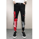 Guys Street Fashion Colorblock Letter Print Buckle Ribbon Detail Drawstring Waist Slim Fit Black Cargo Pants