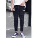 Mens Cool Classic Plaid Printed Drawstring Waist Casual Cotton Tapered Pants