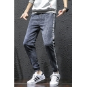 New Stylish Letter Pattern Side Drawstring Waist Mens Slim Fit Linen Pants for Men