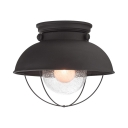 Dome Flush Mount Light with Clear Seeded Glass Single Industrial Ceiling Light in Matte Black