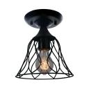 Bell Semi Flush Light Vintage 1 Light Metal Ceiling Flush Mount for Kitchen Foyer