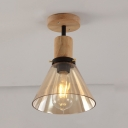 Cone Semi Flush Light Single Light Amber Glass Industrial Ceiling Flush Light in Wood