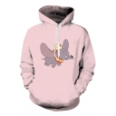 Hot Popular Comic Cartoon Elephant Pattern Long Sleeve Pink Drawstring Hoodie