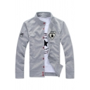 Stand Collar Fashion Logo Pattern Long Sleeve Button Down Sweatshirt Cardigan Coat