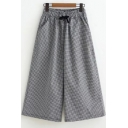 Summer Women's Drawstring Waist Plaids Printed Wide Leg Black Loose Casual Pants