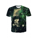 Men's Stylish 3D Skull Figure Printed Short Sleeve Green Loose Fit T-Shirt