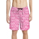 Cartoon Cute Pigs Pattern Drawcord Fast Drying Flap Pocket Back Pink Casual Swim Trunks