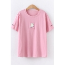 Summer Cute Cat Applique Short Sleeve Cotton Pullover T-Shirt
