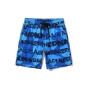 New Stylish Colorblock Letter Printed Drawstring Waist Cotton Beach Holiday Loose Swim Shorts for Men