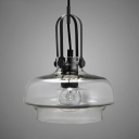 Single Light Pendant Lamp with Adjustable Cord Industrial Glass Hanging Light Fixture for Dining Room
