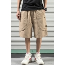 Guys Summer Basic Plain Cotton Loose Wide-Leg Relaxed Fit Cargo Shorts