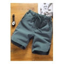 Summer New Trendy Patchwork Drawstring Waist Loose Casual Plain Linen Shorts for Men