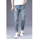 Men's New Stylish Cool Logo Patched Back Rolled Cuff Slim Fit Ripped Jeans