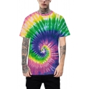 Cool Fashion 3D Colorful Tie-Dye Whirlpool Print Basic Short Sleeve Relaxed Fit T-Shirt