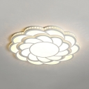 Contemporary Petal Flush Ceiling Light Dining Room LED Light Fixture in Warm/White