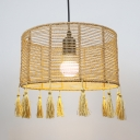 Rustic Beige Pendant Light with Drum Shade and Tassel One/Three Light Rattan Indoor Hanging Light