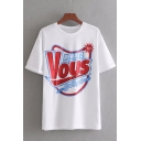 Cool Letter RENDEZ VOUS WITH YOU Printed Round Neck Short Sleeve White T-Shirt