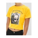 Cool Figure Letter HOW SAY FOREVER 1987 Printed Round Neck Short Sleeve Yellow Cropped T-Shirt