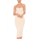 Nightclub Sexy Plain Spaghetti Straps Sleeveless Midi Bodycon Dress