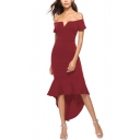 Sexy V-Neck Off the Shoulder Zip-Back Fishtail Hem Solid Maxi Asymmetrical Dress