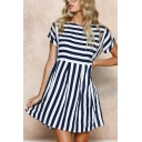 Fashion Classical Stripes Printed Round Neck Short Sleeve Loose Mini A-Line Dress
