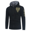 Mens Fashion Logo Printing Long Sleeve Zip Up Slim Fit Drawstring Hoodie