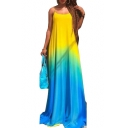 Summer Fashion Ombre Color Block Spaghetti Straps Sleeveless Floor Length Slip Dress