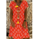 Summer New Trendy Pineapple Printed V-Neck Short Sleeve Casual Midi A-Line Dress