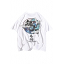 Chinese Style Crane Letter Printed Round Neck Short Sleeve Loose Casual Unisex T-Shirt