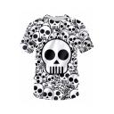 Cool 3D Allover Skull Pattern Round Neck Short Sleeve Mens White Casual T-Shirt