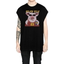 Unisex Cartoon Pig Letter Graphic Printed Cotton Sleeveless Relaxed Tank