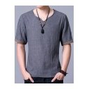 Chinese Style Retro Tribal Print Short Sleeve Loose Casual Linen T-Shirt