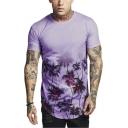 Mens New Stylish Tree Printed Round Hem Short Sleeve Casual T-Shirt