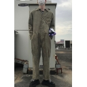 Vintage Simple Solid Color Long Sleeve Button-Front Loose Fit Corduroy Jumpsuits Coveralls
