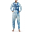 Fashion Blue Wolf Printed Long Sleeve Hooded Zip Up Casual Loose Lounge Jumpsuits for Men